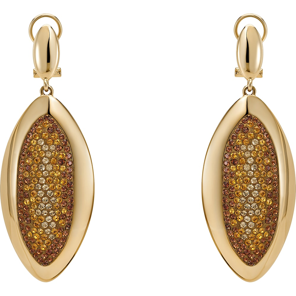 Evil Eye Drop Clip Earrings, Small, Brown, Gold-tone plated