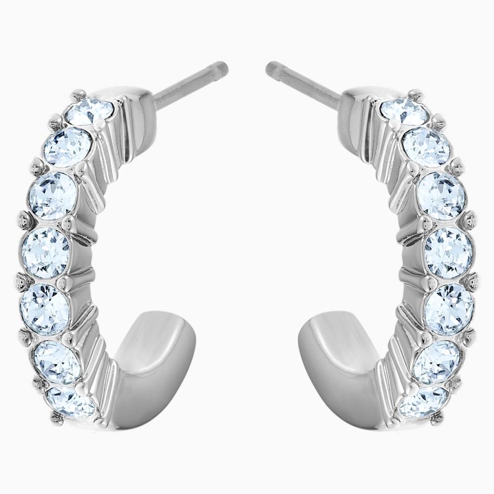Mini Hoop Pierced Earrings, Blue, Rhodium plated
