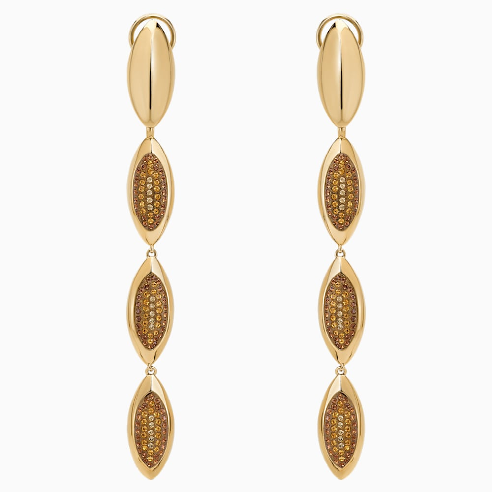 Evil Eye Drop Clip Earrings, Long, Brown, Gold-tone plated