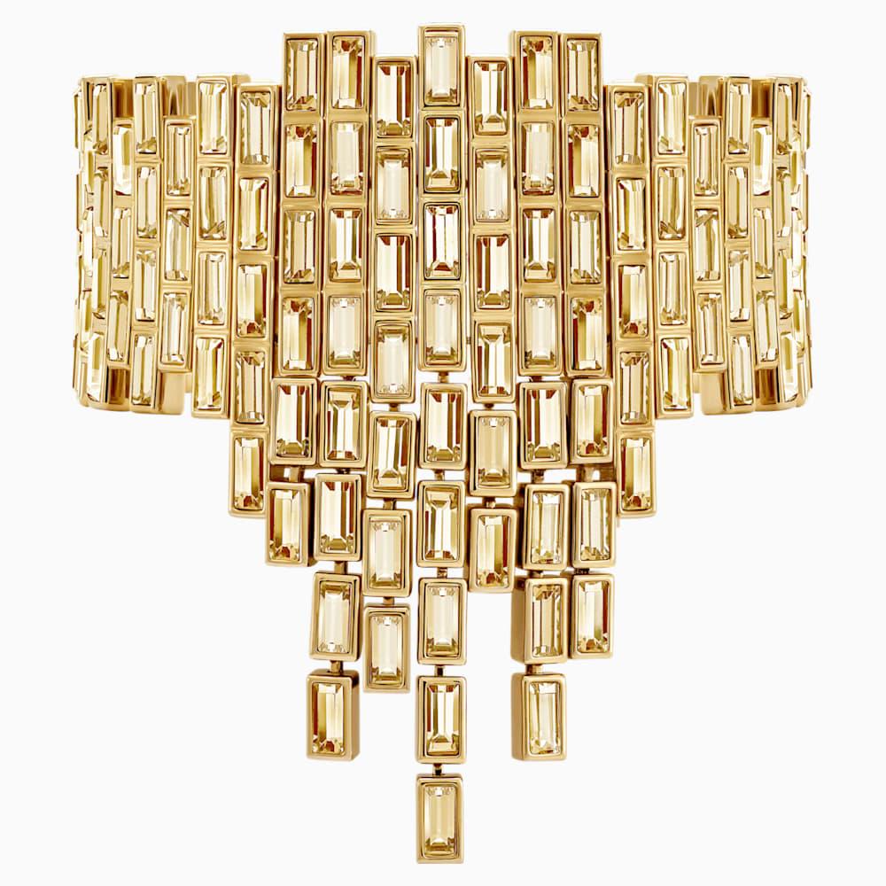 Fluid Statement Bracelet, Brown, Gold-tone plated