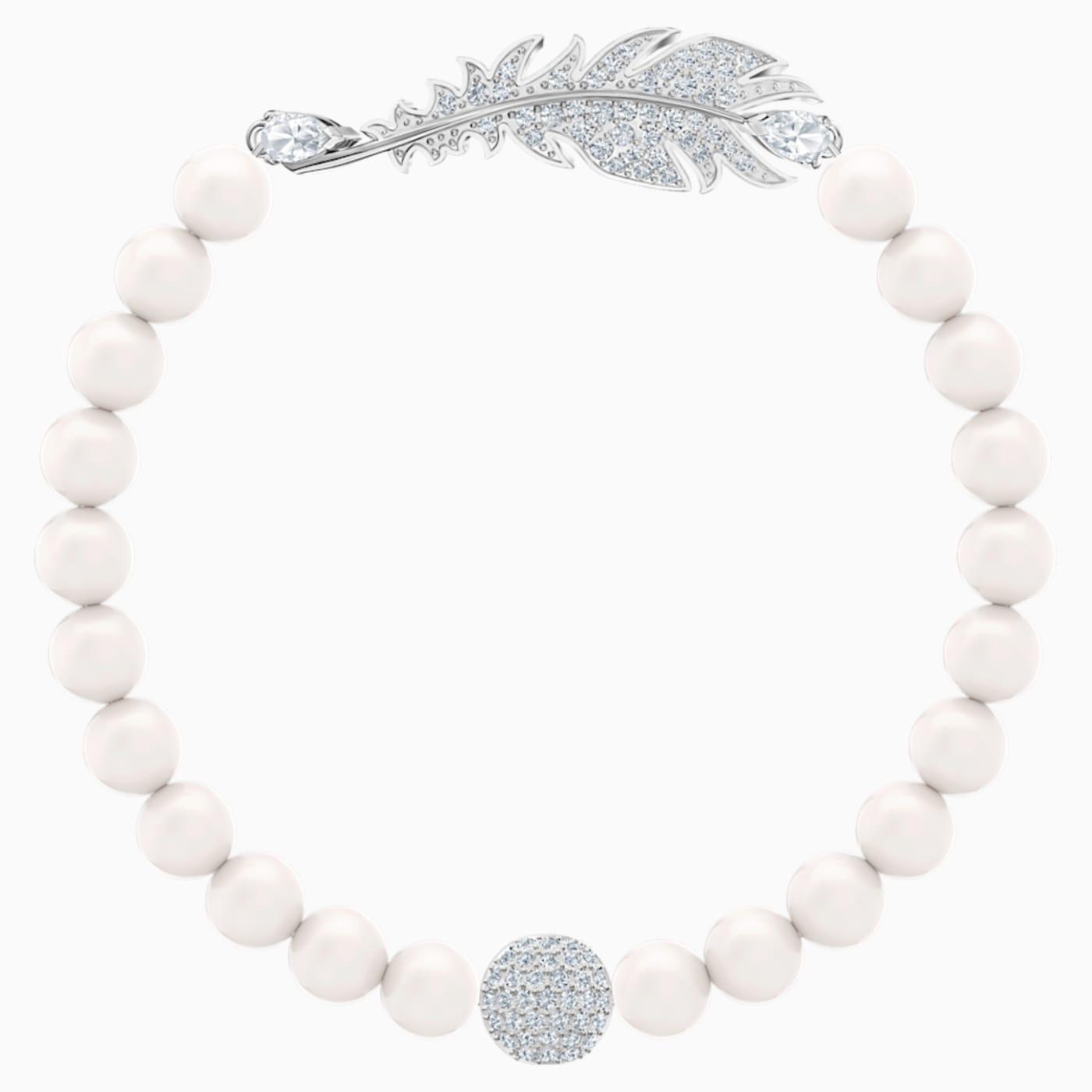 Braccialetto Nice Pearl, bianco, Placcatura rodio - Swarovski, 5509723