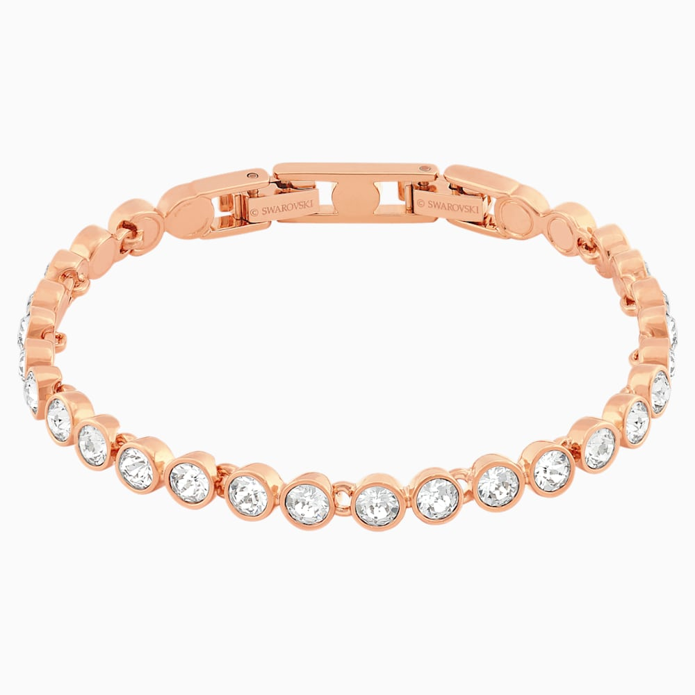 Swarovski Tennis Bracelet, White, Rose-gold tone plated