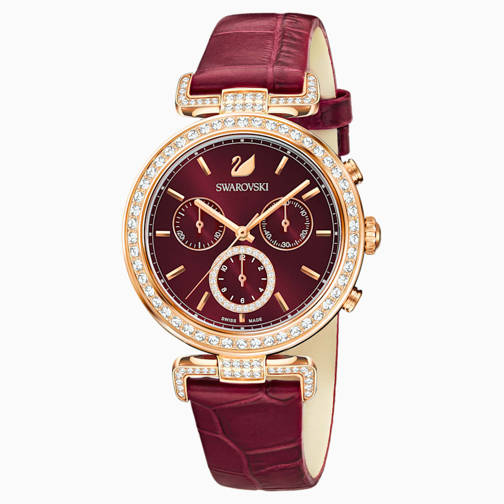 Era Journey Watch, Leather strap, Dark Red, Rose gold tone PVD