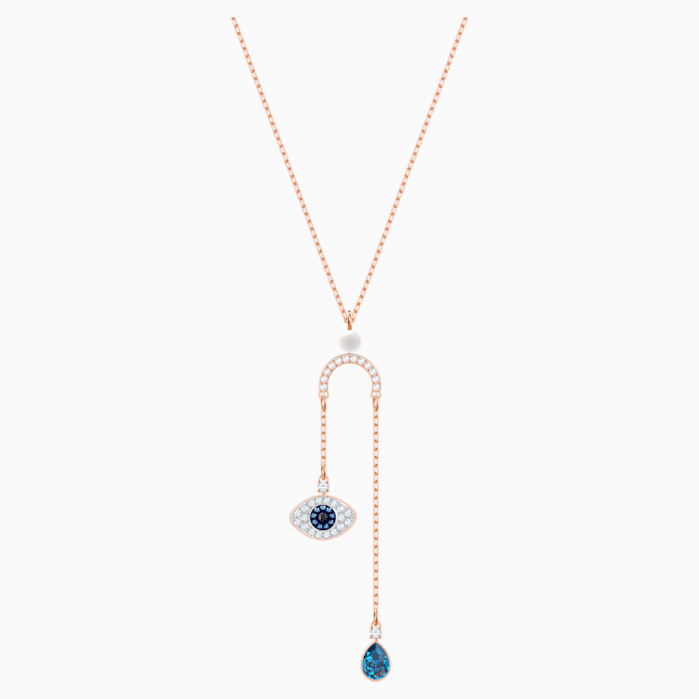 Swarovski Symbolic Evil Eye Y Necklace, Multi-colored, Rose-gold tone plated
