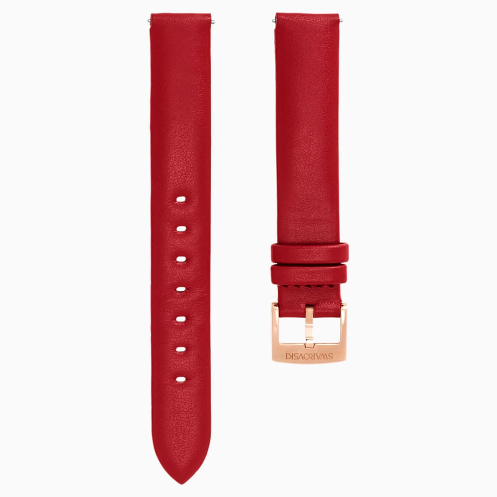 Swarovski 14mm Watch strap, Leather, Red, Rose-gold tone plated