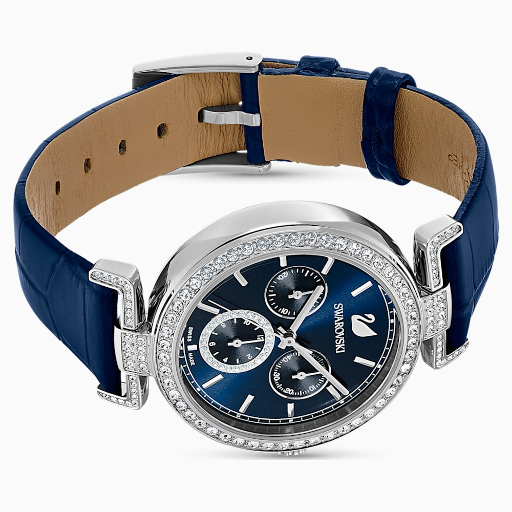 Era Journey Watch, Leather strap, Blue, Stainless steel