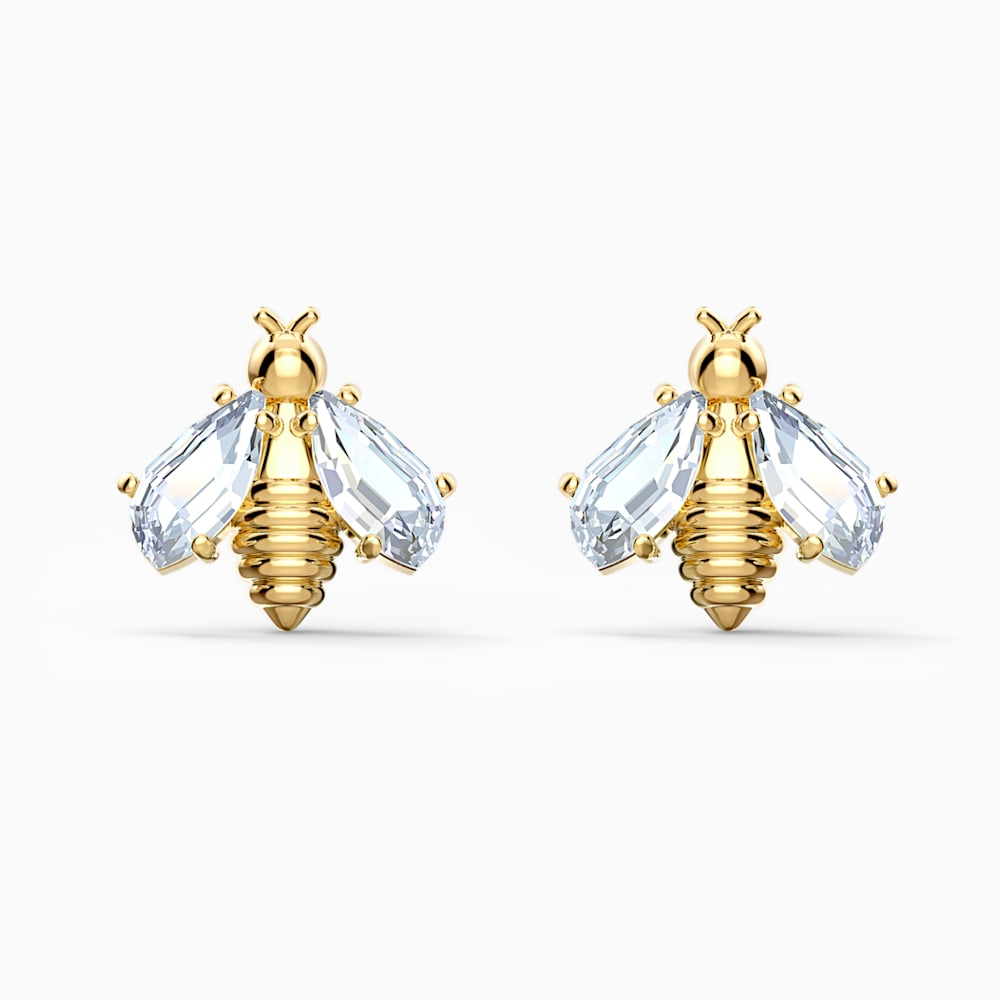 Swarovski Eternal Flower Bee Pierced Earrings, White, Gold-tone plated