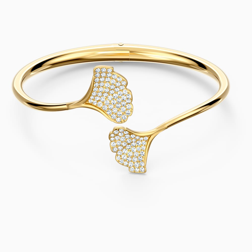 Swarovski Stunning Gingko Bangle, White, Gold-tone plated