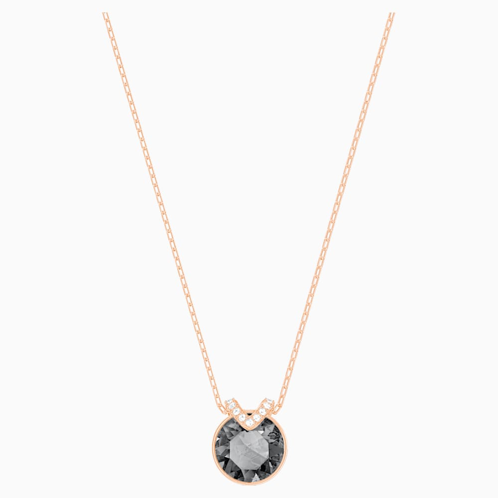 Swarovski Bella V Pendant, Black, Rose-gold tone plated
