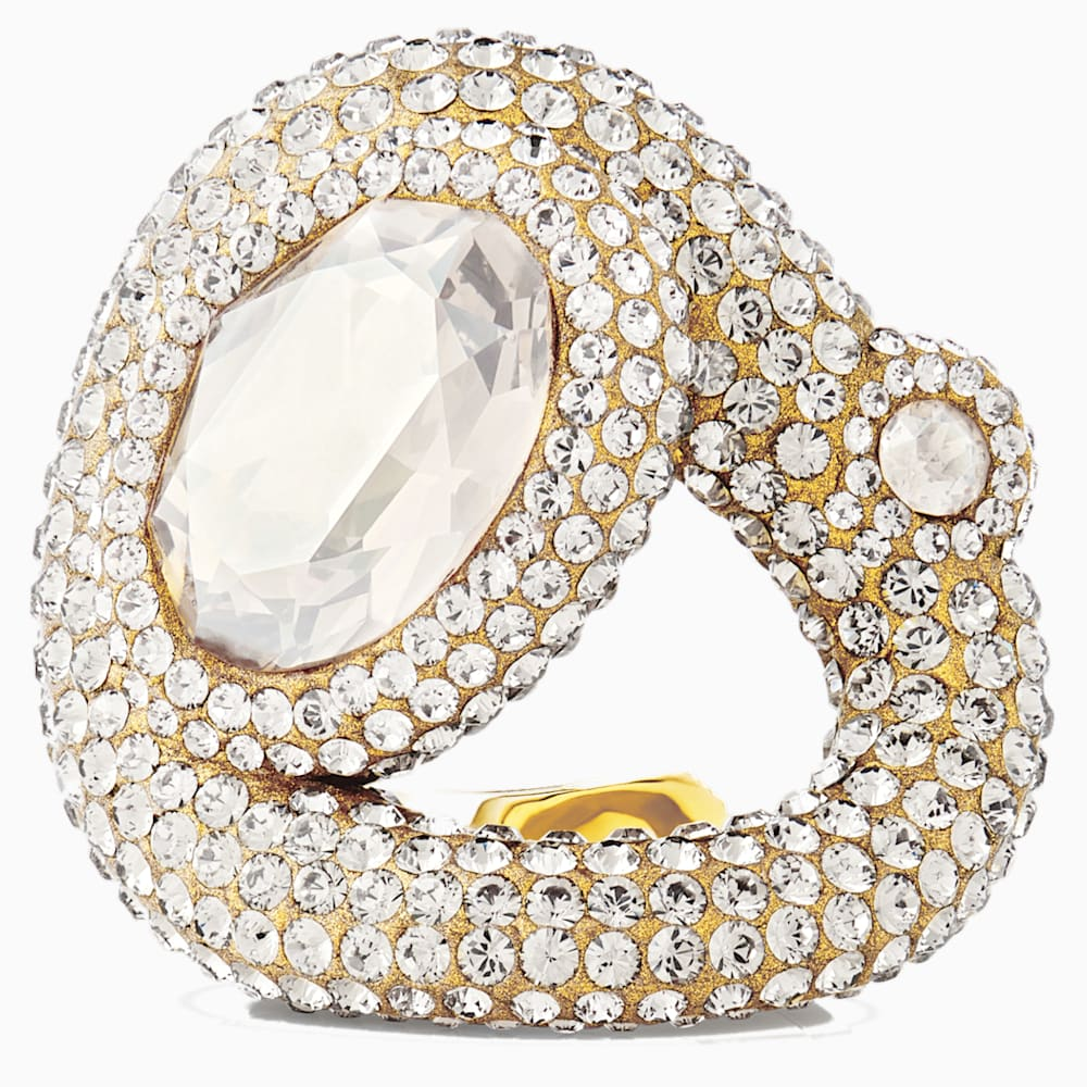 Swarovski Tigris Ring, White, Gold-tone plated