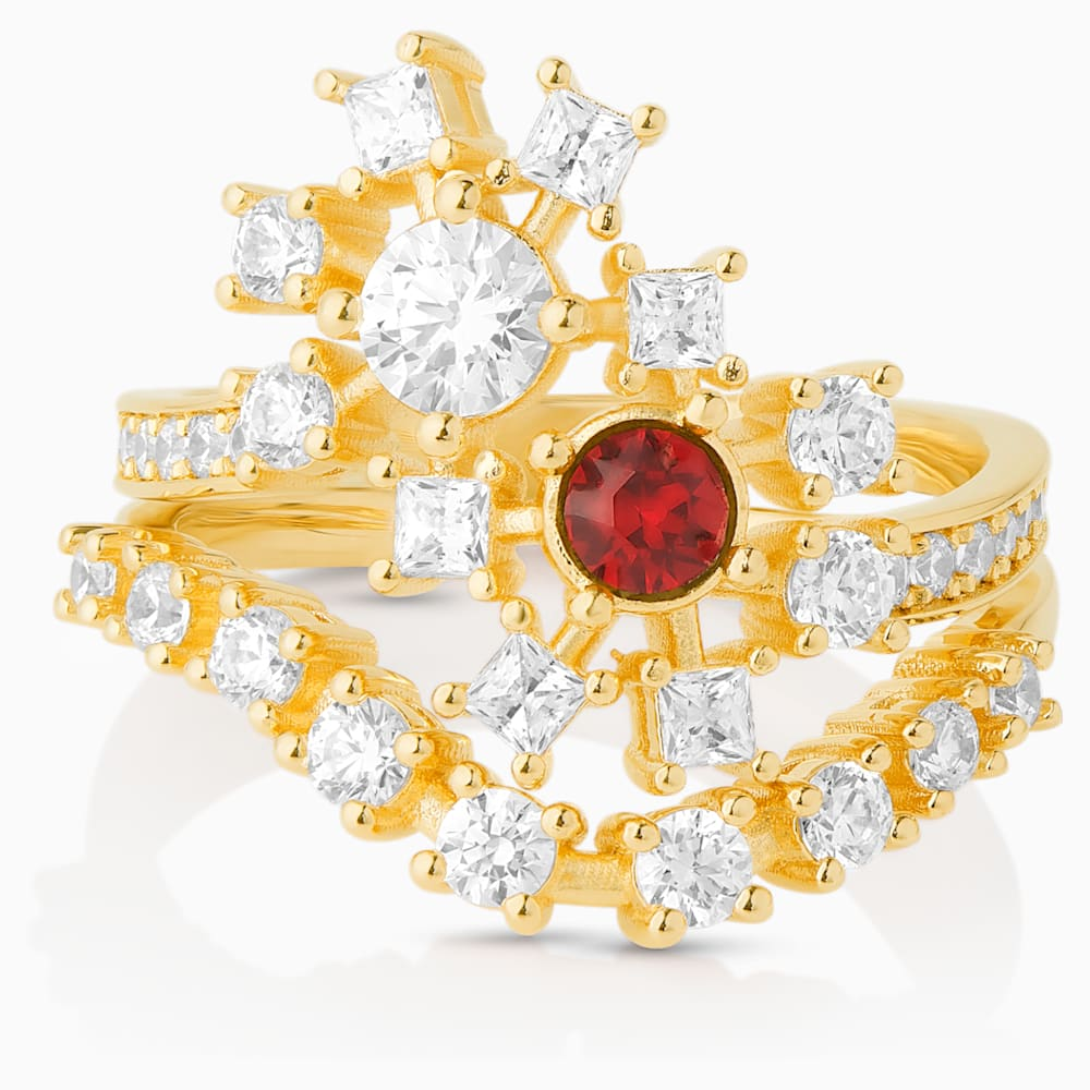 Swarovski Icons of Film Ring, Red, Gold-tone plated