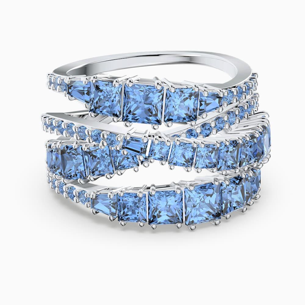 Swarovski Twist Wrap Ring, Blue, Rhodium plated