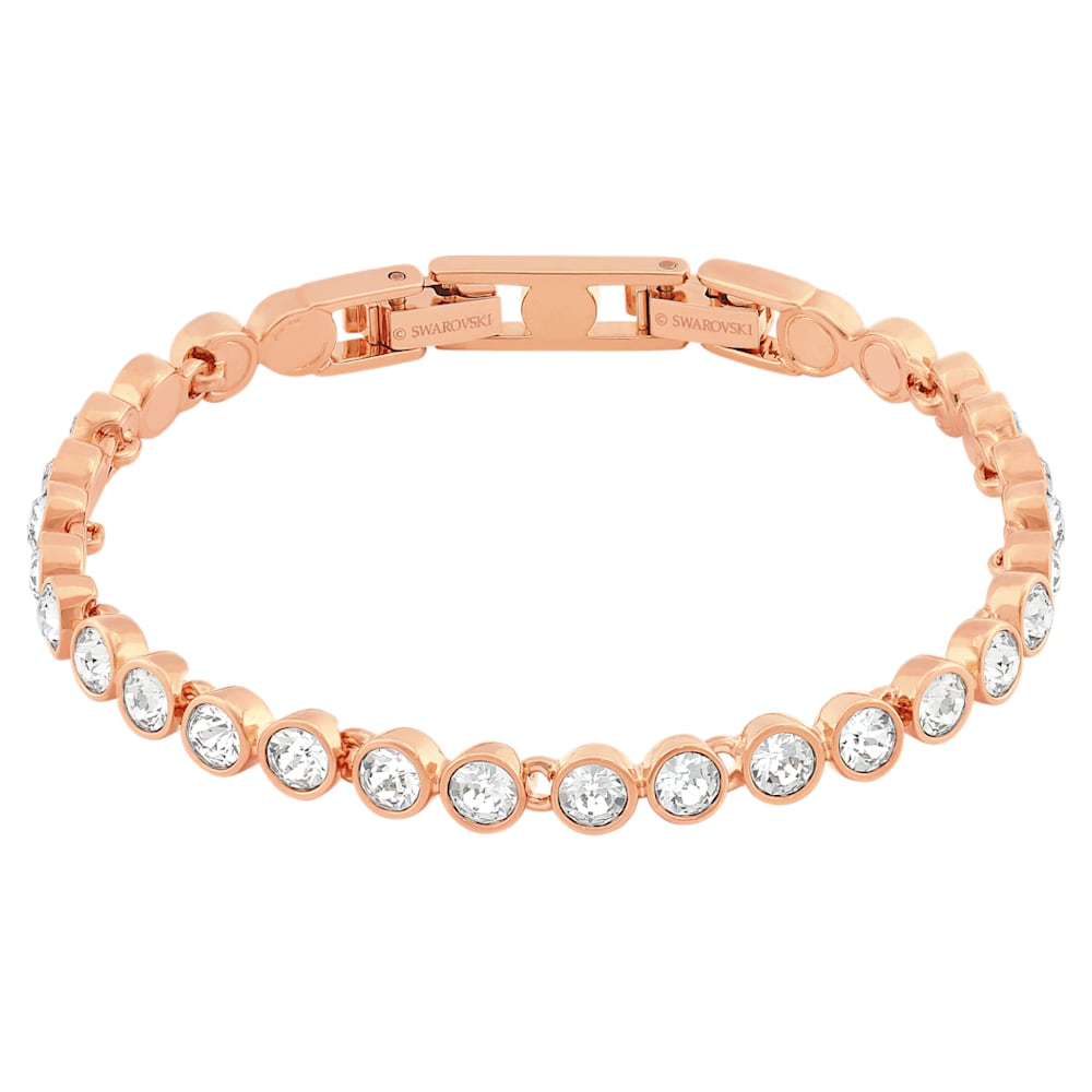 Tennis Bracelet, White, Rose-gold tone plated