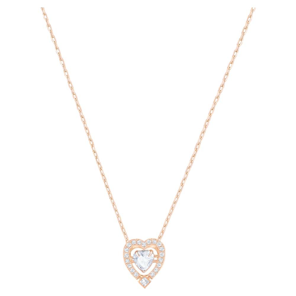 Swarovski Sparkling Dance Heart Necklace, White, Rose-gold tone plated