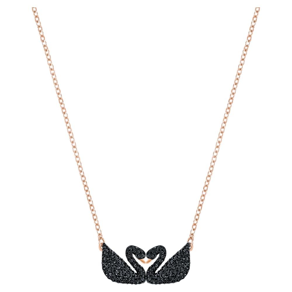 Swarovski Iconic Swan Necklace, Black, Rose-gold tone plated