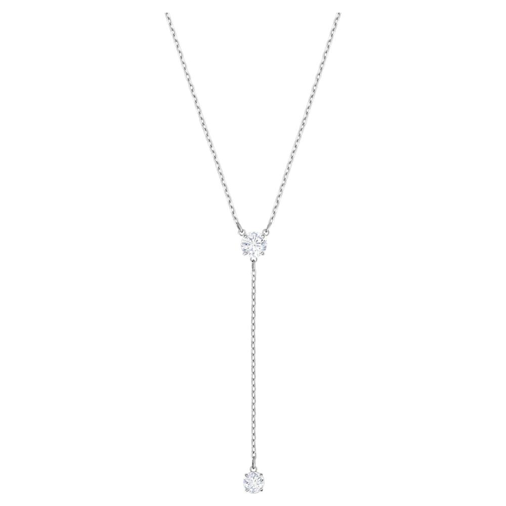 Swarovski Attract Y Necklace, White, Rhodium plated