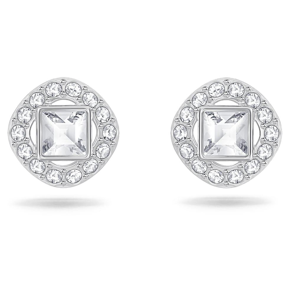 Swarovski Angelic Square Pierced Earrings, White, Rhodium plated