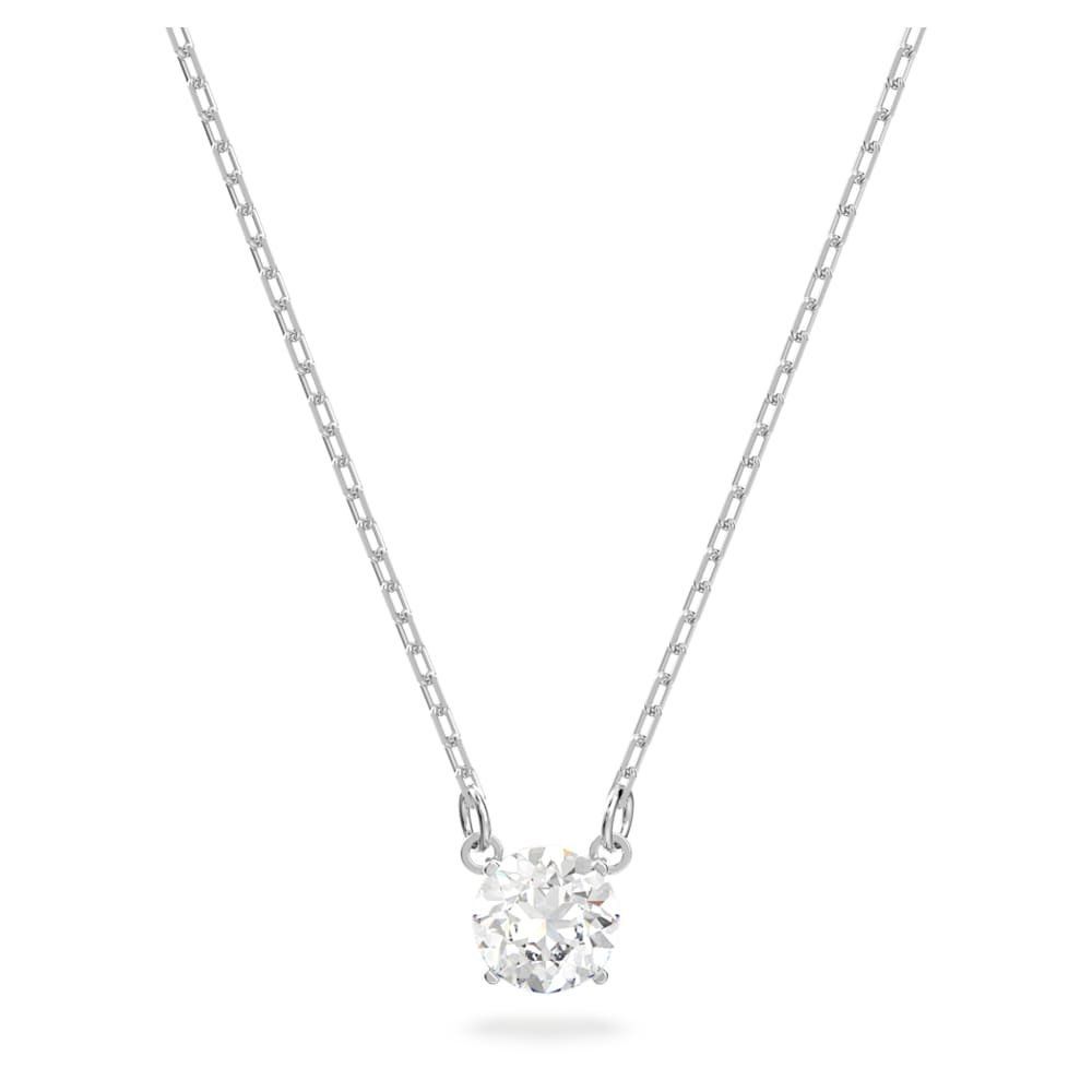 Attract necklace, Round, White, Rhodium plated