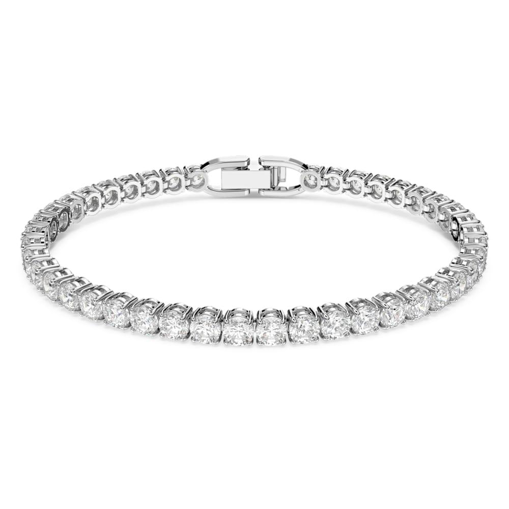 Tennis Deluxe Bracelet, White, Rhodium plated