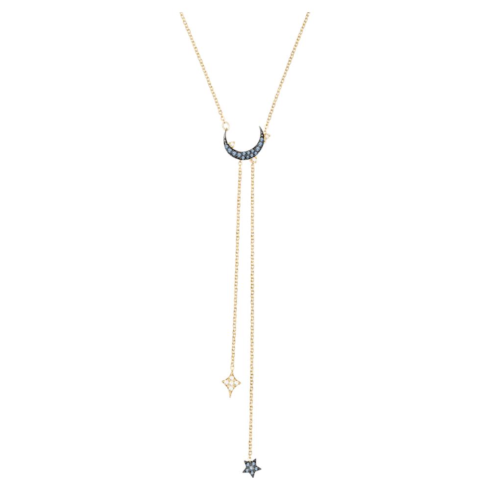 Collier en Y Swarovski Symbolic Moon, bleu, Finition mix de métal ...