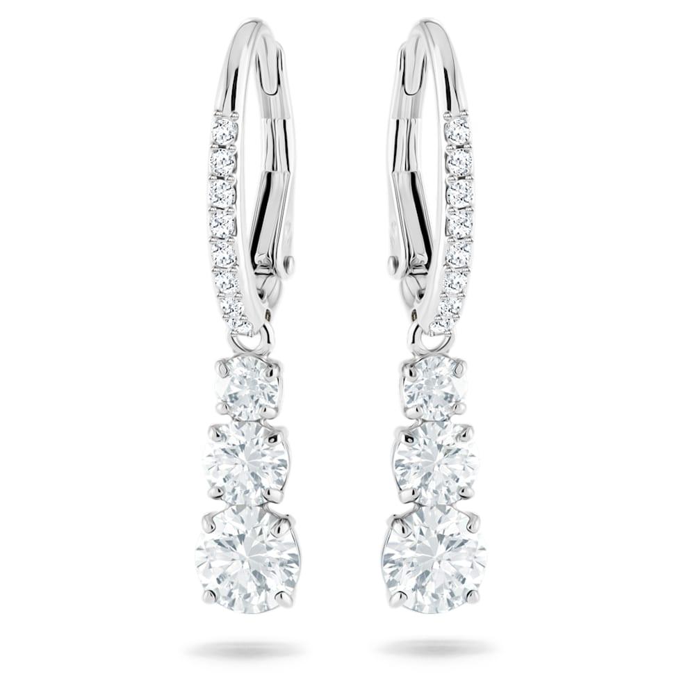 Swarovski Attract Trilogy Round Pierced Earrings, White, Rhodium plated