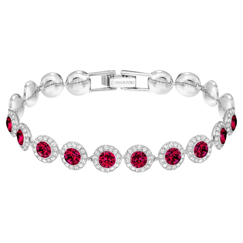 Bracelet Angelic, rouge, Métal rhodié