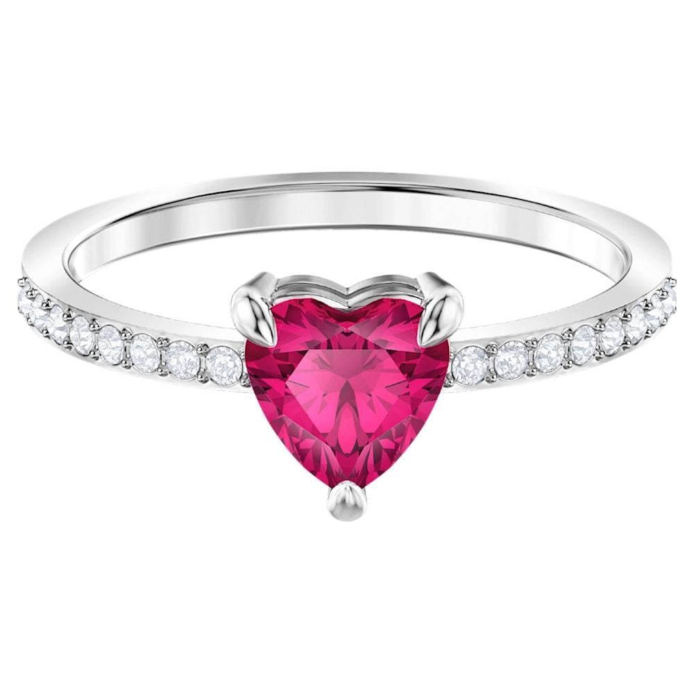 Bague One Heart, rouge, Métal rhodié | Swarovski.com