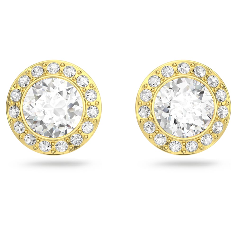 Swarovski Angelic Stud Pierced Earrings, White, Gold-tone plated