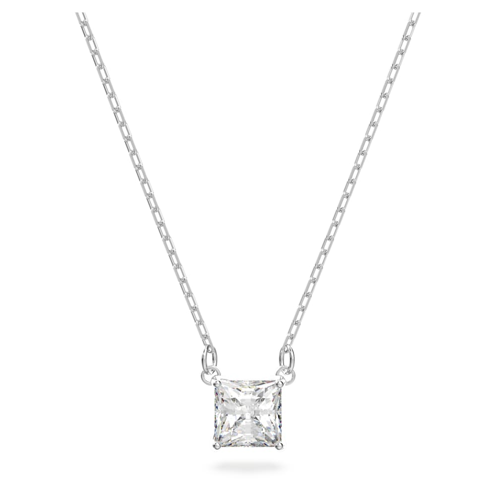 Attract necklace, Square, White, Rhodium plated