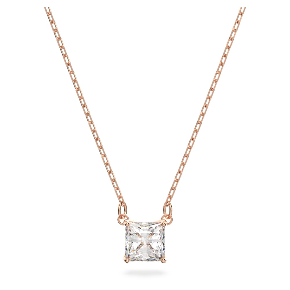 Attract necklace, Square, White, Rose gold-tone plated