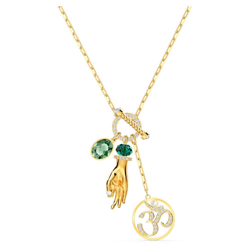 Pendentif Swarovski Symbolic Hand Om, vert, métal doré