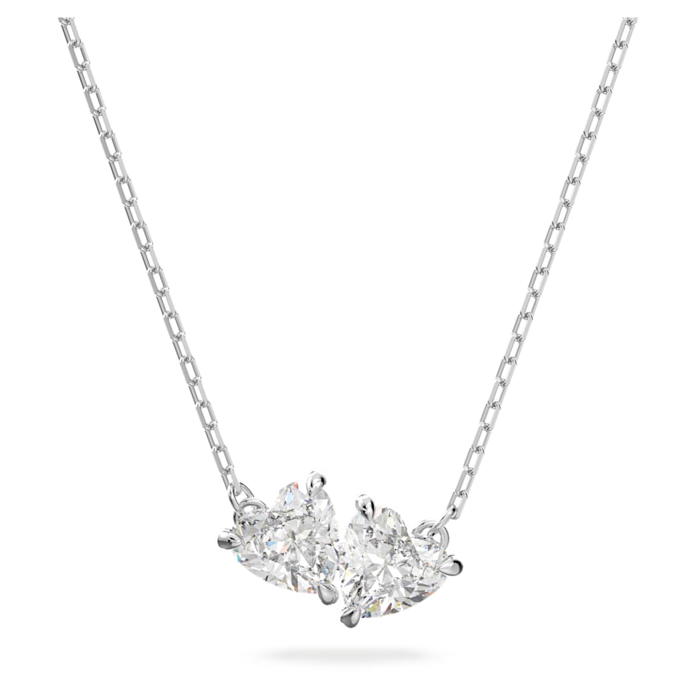 Attract Soul necklace, Heart, White, Rhodium plated