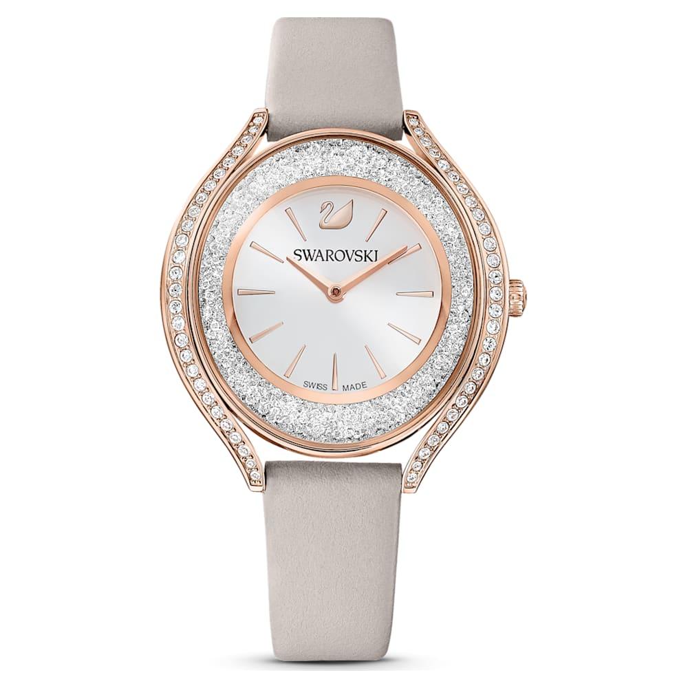 Montre Crystalline Aura, bracelet en cuir, gris, PVD doré rose
