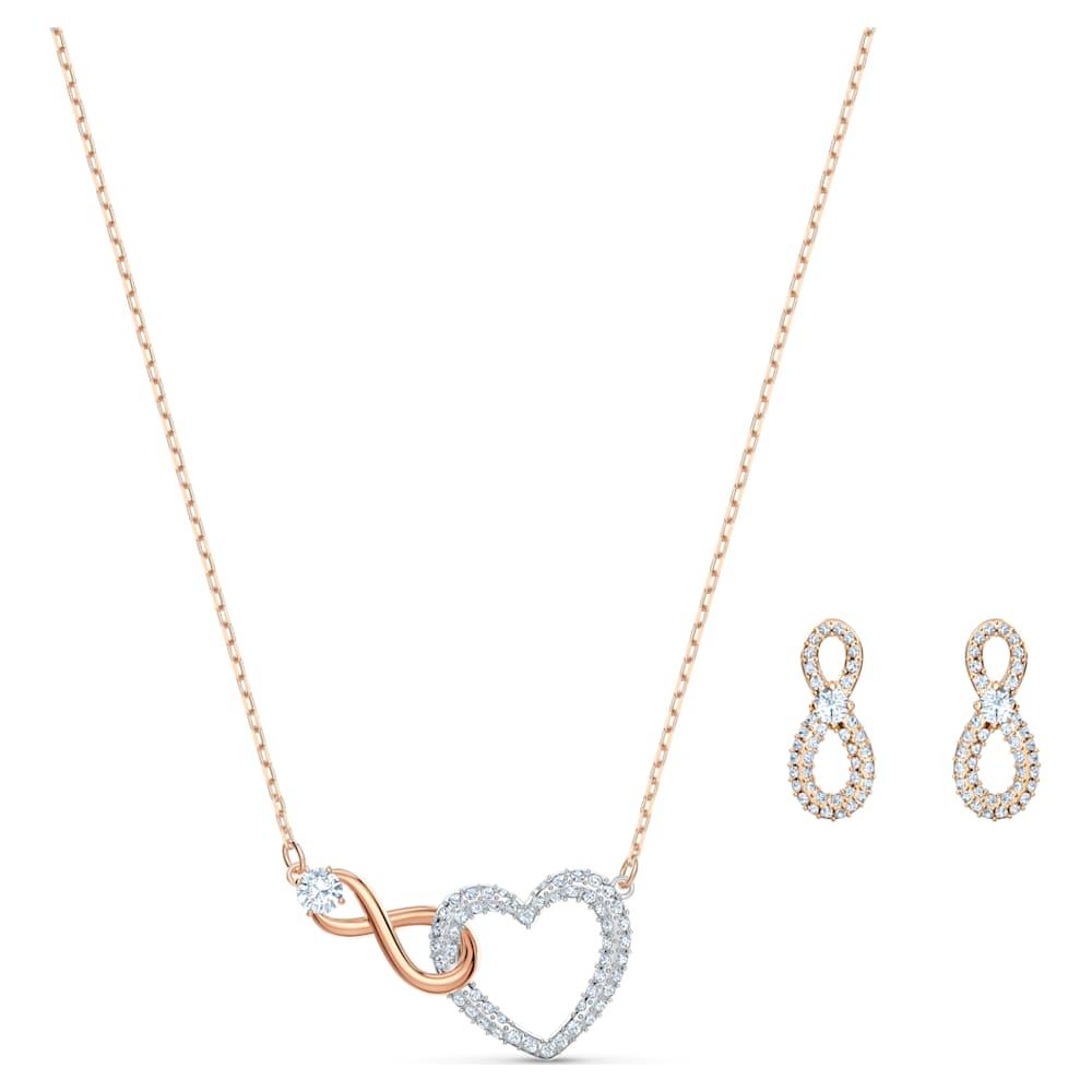 Parure Swarovski Infinity Heart, blanc, finition mix de métal