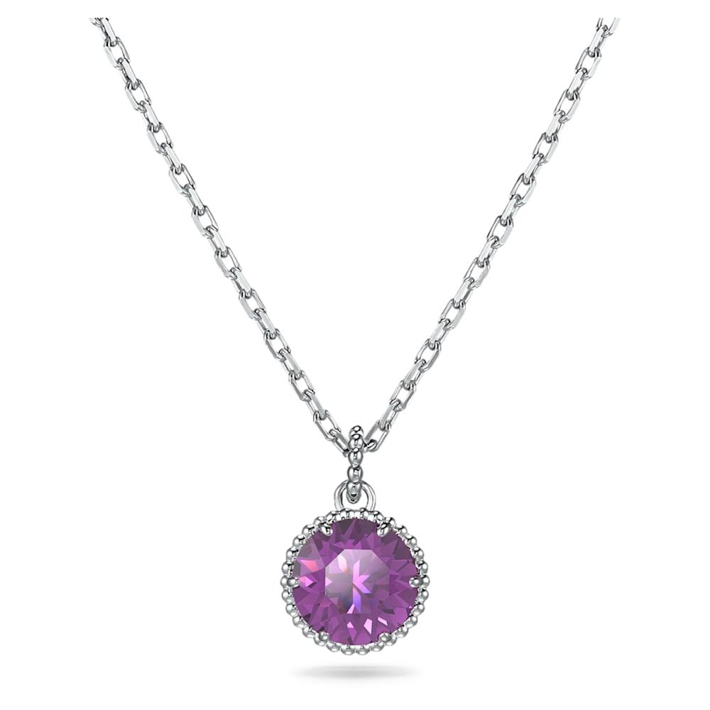 Swarovski Birthstone Pendant, February, Purple, Rhodium plated