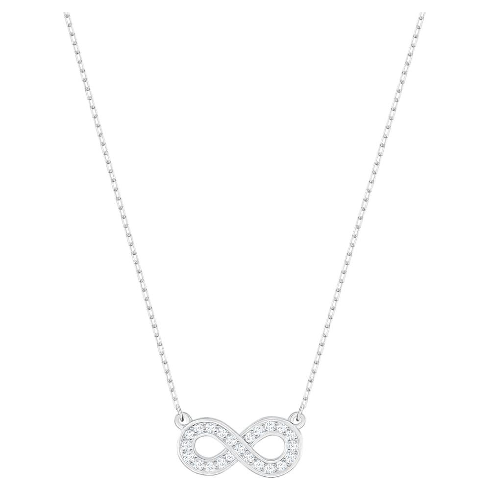 Collier Infinity, blanc, Métal rhodié