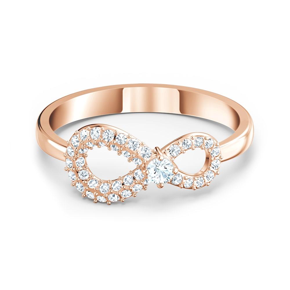 Bague Swarovski Infinity, blanc, métal doré rose