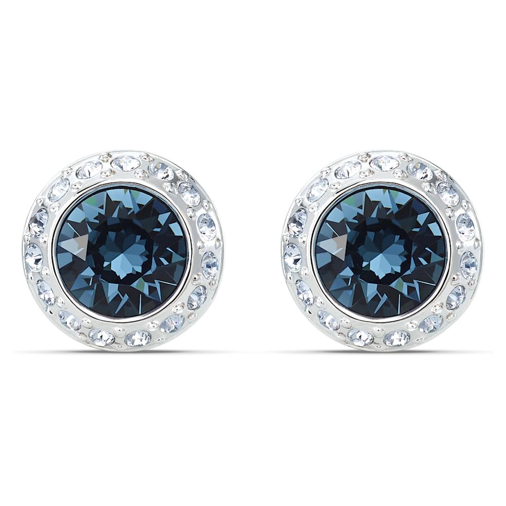 Swarovski Angelic Stud Pierced Earrings, Blue, Rhodium plated