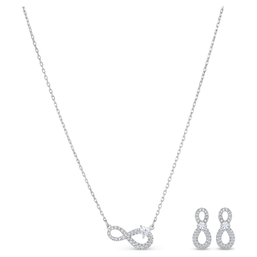 Swarovski Infinity Set, White, Rhodium plated