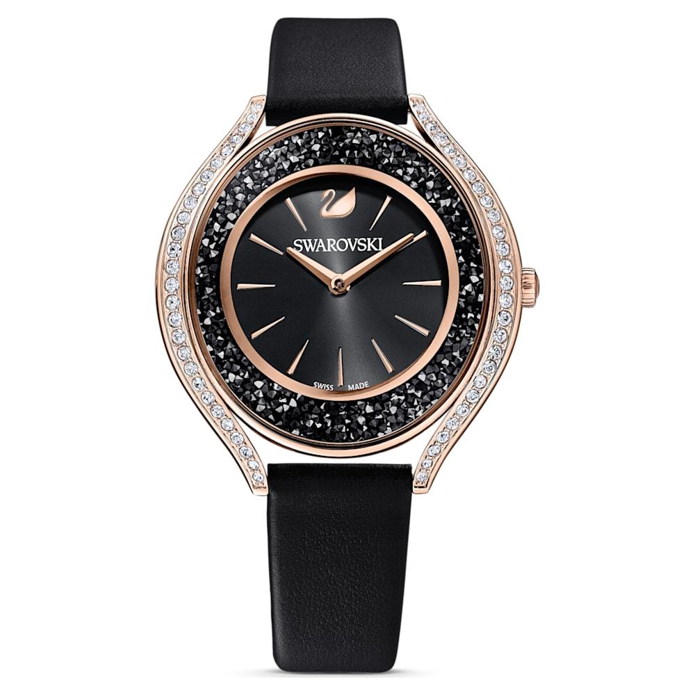 Montre Crystalline Aura, bracelet en cuir, noir, PVD doré rose
