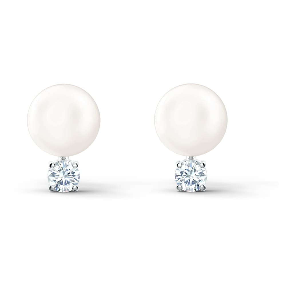 Swarovski Treasure Pearl Pierced Earrings, White, Rhodium plated