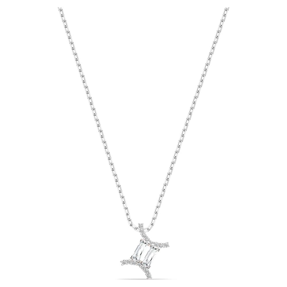 Pendentif Zodiac II, Gémeaux, blanc, finition mix de métal