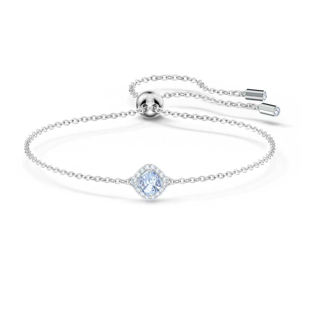 Bracelet Angelic Cushion, bleu, métal rhodié