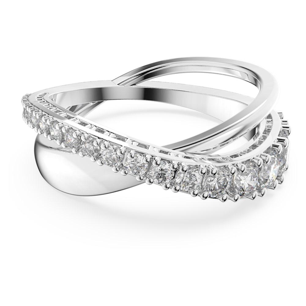 Swarovski Twist ring, White, Rhodium plated