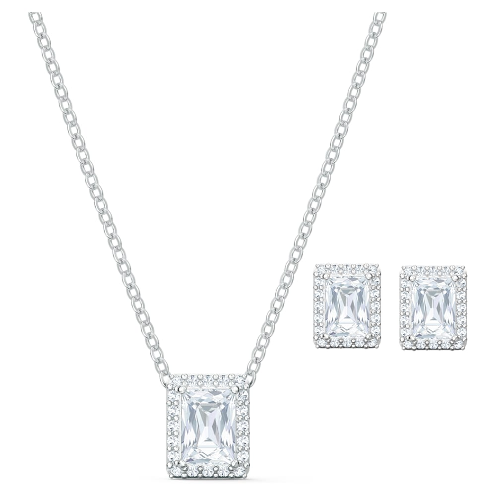 Swarovski Angelic Set, White, Rhodium plated