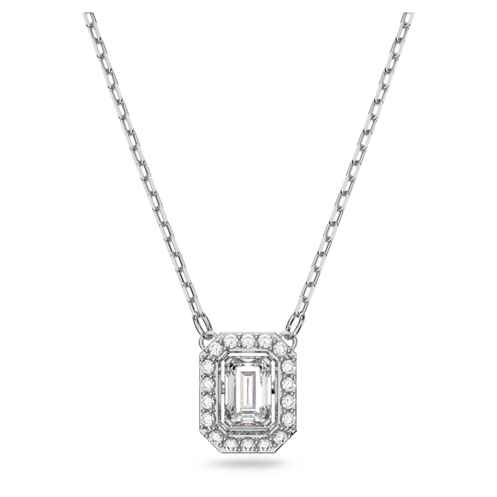 Millenia necklace, Square Swarovski Zirconia, White, Gold-tone plated
