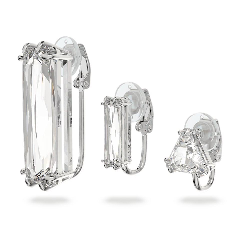 Pendiente de plata y cristal de roca en /ámbar