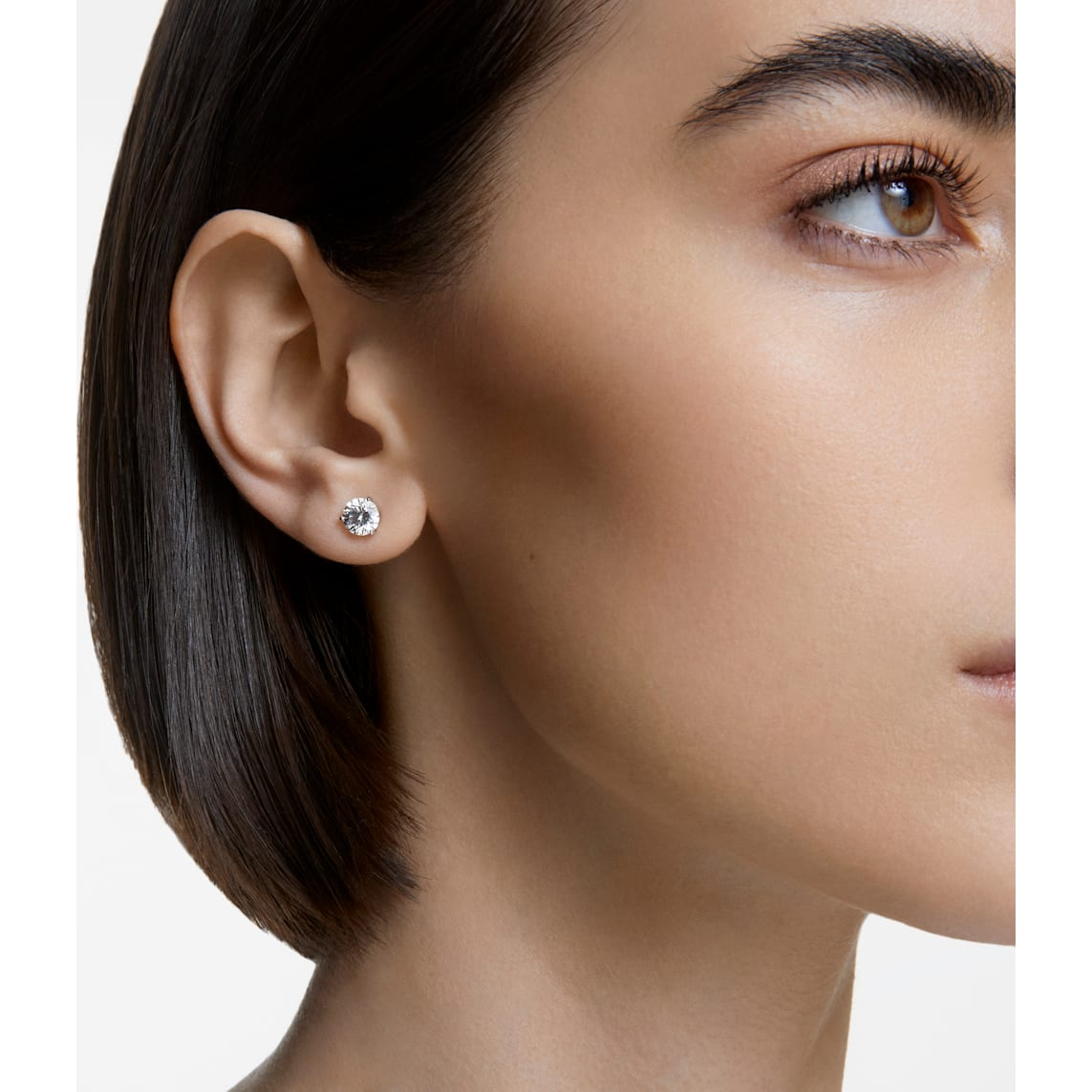 Solitaire Pierced Earrings White Rhodium Plated