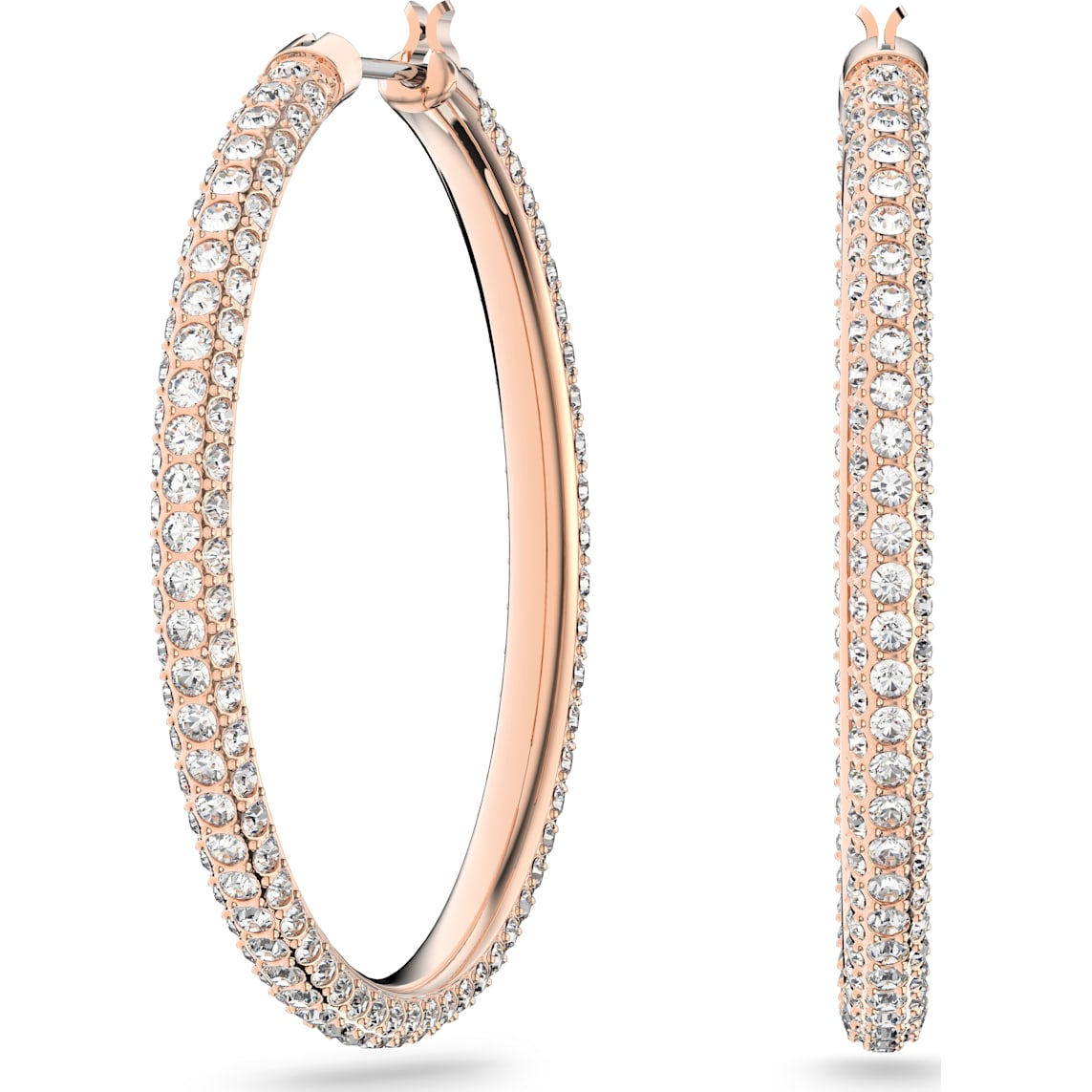 Stone Hoop Pierced Earrings Pink Rose Gold Tone Plated