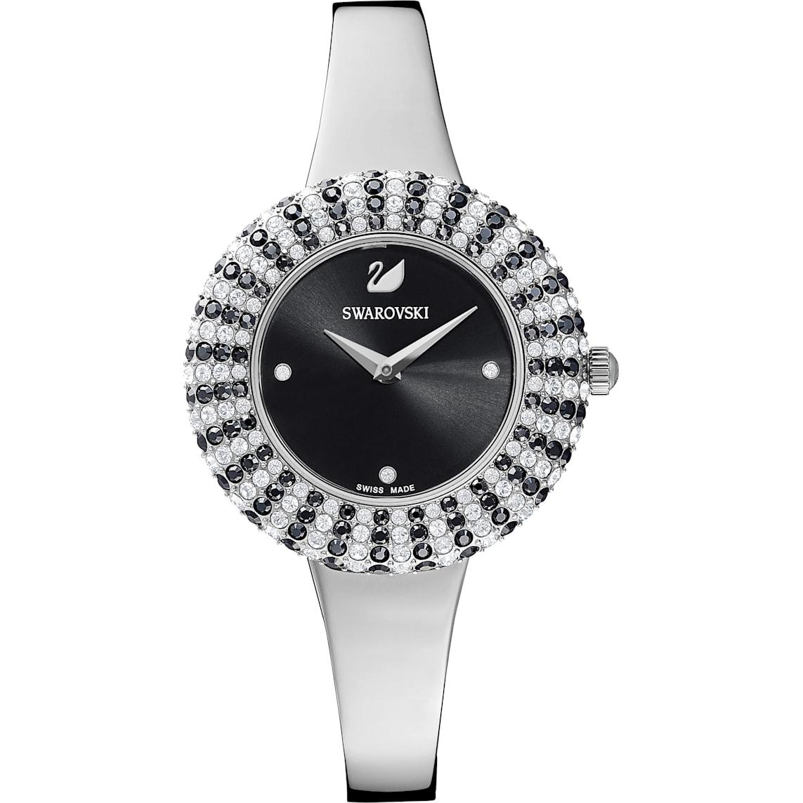 Crystal Rose Watch Metal Bracelet Black Stainless Steel